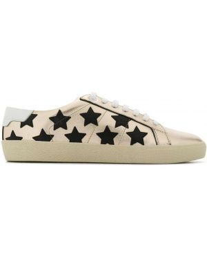Кожаные кроссовки черные леопардовые Saint Laurent