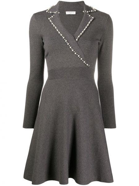 Расклешенное серое с рукавами платье мини Sandro Paris