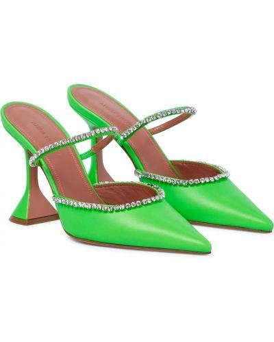 Зеленые мюли на каблуке из натуральной кожи Amina Muaddi
