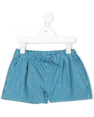 Хлопковые синие шорты в полоску Knot