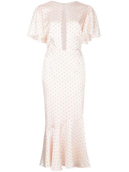 Розовое приталенное платье мини с вырезом на молнии Markarian