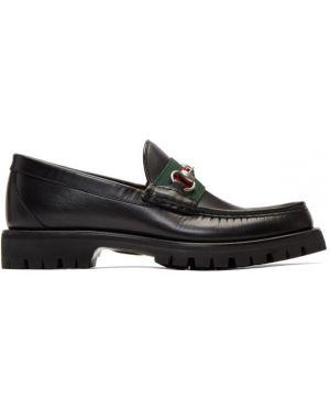 Лоферы черные зеленый Gucci