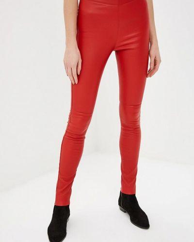 Красные брюки кожаные Oakwood