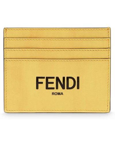 Желтая деловая кожаная визитница Fendi