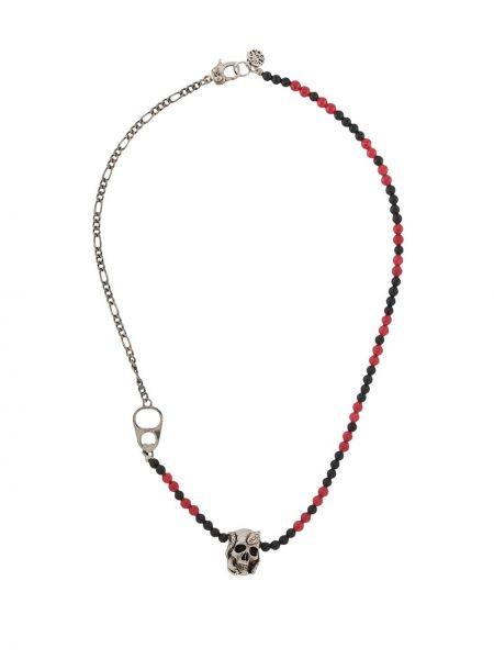 Черное ожерелье металлическое с подвесками с бисером Alexander Mcqueen