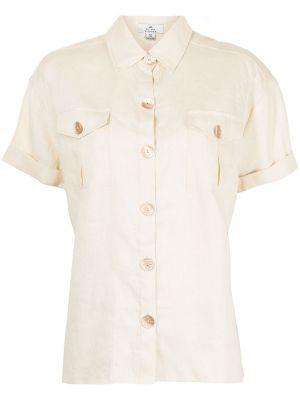Коричневая классическая рубашка с короткими рукавами с воротником We Are Kindred