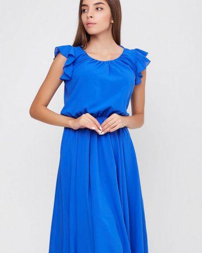 Вечернее платье осеннее синее Sfn
