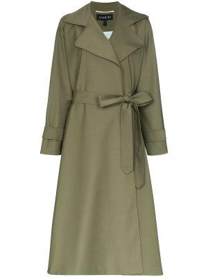 Зеленое пальто с поясом с запахом на пуговицах Anouki