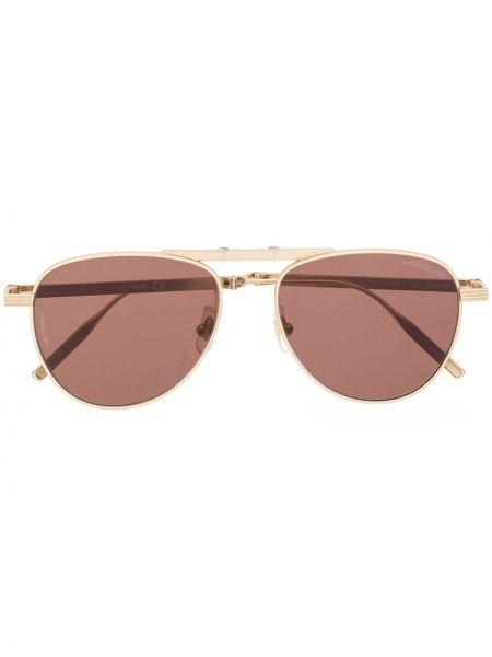 Золотистые розовые солнцезащитные очки металлические Montblanc
