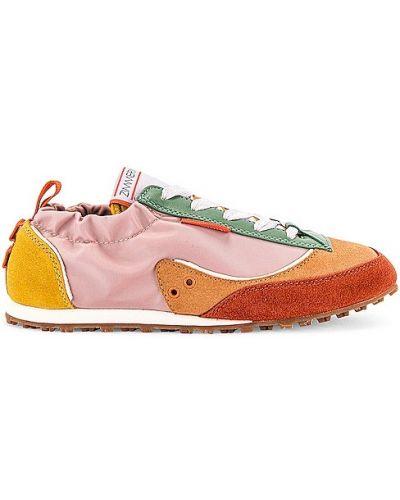 Różowe sneakersy skorzane na obcasie Zimmermann