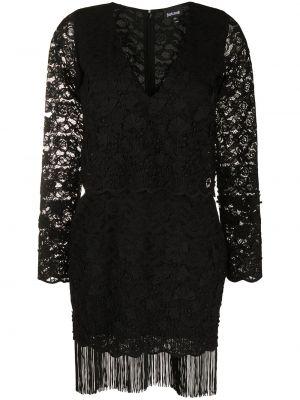 Ажурное черное платье макси с бахромой Just Cavalli