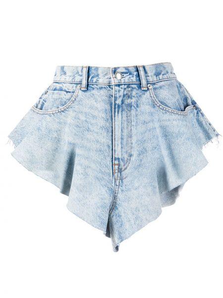 Однобортные синие джинсовые шорты со стразами с карманами Alexander Wang