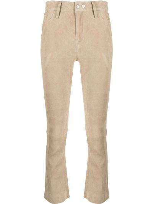 Зауженные кожаные бежевые брюки Sylvie Schimmel