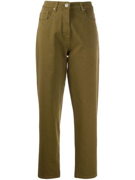 Zielone jeansy z wysokim stanem bawełniane Barbara Bui