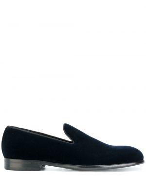 Синие бархатные слиперы с тиснением Dolce & Gabbana
