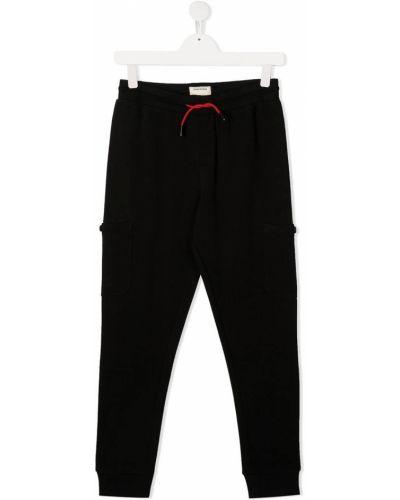 Хлопковые черные спортивные брюки с накладными карманами с заплатками Zadig & Voltaire Kids