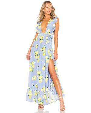 Sukienka z wiskozy z rękawami Majorelle
