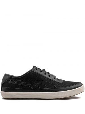 Кожаные городские черные кроссовки на шнурках Puma