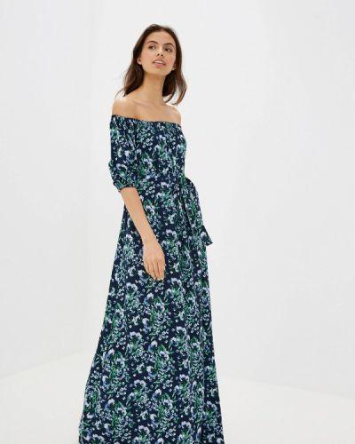 Платье с открытыми плечами синее Maison De La Robe