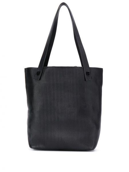 Prążkowana czarna torba na ramię skórzana Visone