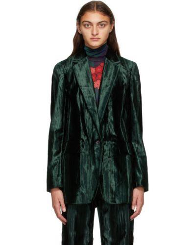 Черный пиджак с воротником с карманами из вискозы Dries Van Noten
