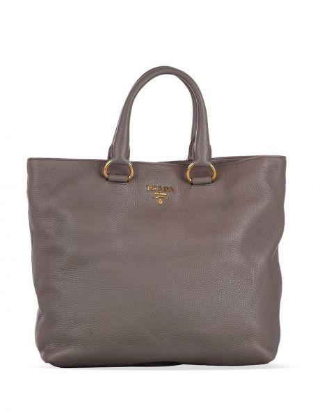 Золотистая кожаная желтая сумка-тоут с подкладкой Prada Pre-owned