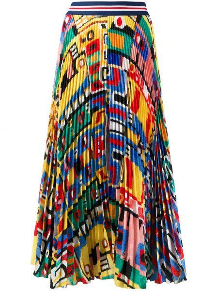 Расклешенная с завышенной талией юбка миди в рубчик с поясом Stella Jean