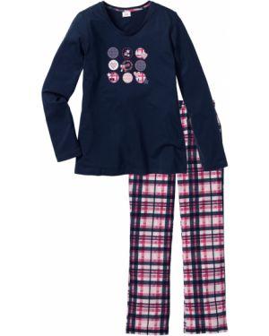 Пижама с брюками в клетку синий Bonprix