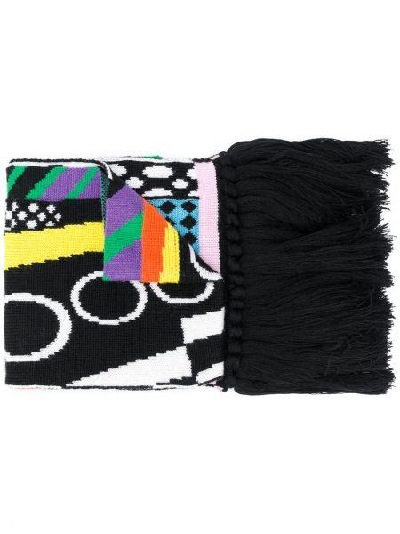 Шерстяной черный шарф с кисточками Versace