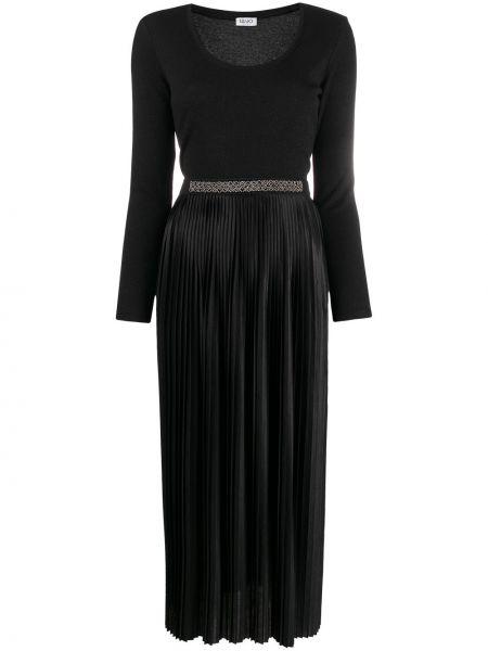 Плиссированное черное платье макси с длинными рукавами Liu Jo