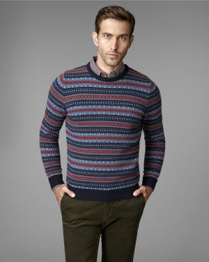 Пуловер с воротником синий Henderson