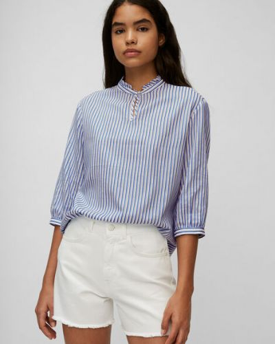 Niebieska bluzka w paski bawełniana Marc O Polo