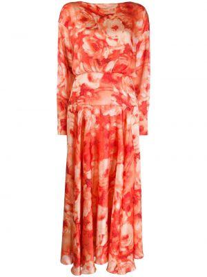Satynowa sukienka długa rozkloszowana z długimi rękawami Galvan