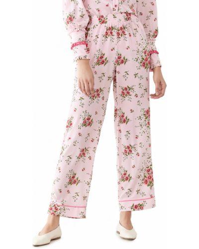 Розовые шелковые брюки на резинке Rodarte