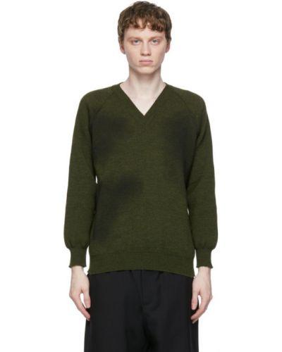 Czarny długi sweter z raglanowymi rękawami z dekoltem w serek Comme Des Garcons Homme Deux