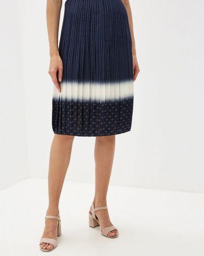 Плиссированная юбка синяя Tory Burch