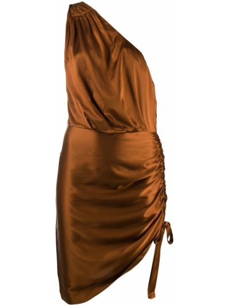 Brązowy sukienka bez rękawów rozciągać na jednym ramieniu Retrofete