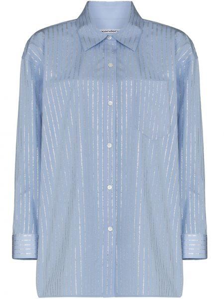 Niebieska koszula oxford bawełniana z długimi rękawami Alexander Wang