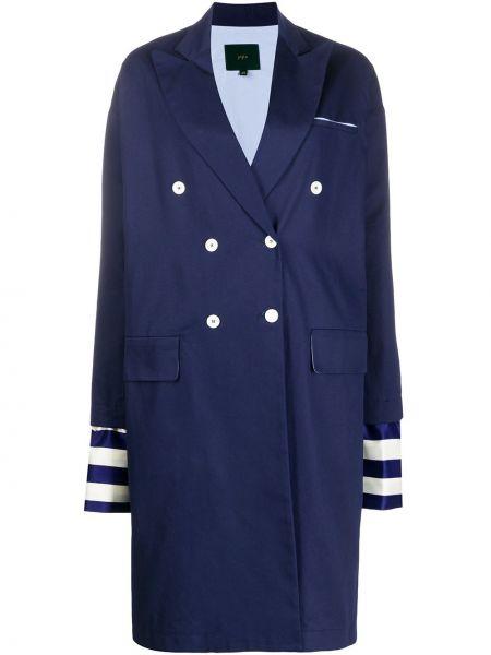 Długi płaszcz z kieszeniami niebieski Jejia