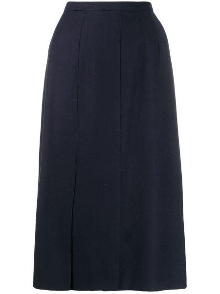 Прямая синяя юбка миди в рубчик Guy Laroche Pre-owned