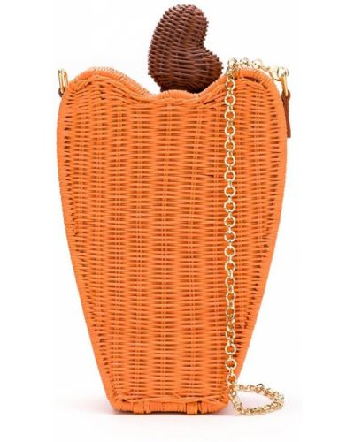 Золотистая оранжевая соломенная сумка на цепочке с декоративной отделкой Serpui