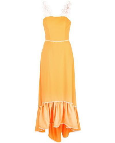 Расклешенное приталенное желтое платье макси на молнии Nha Khanh