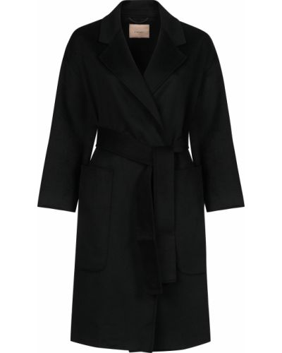 Шерстяное черное пальто с капюшоном Twin-set