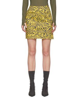 Ватная хлопковая желтая юбка мини стрейч Miaou
