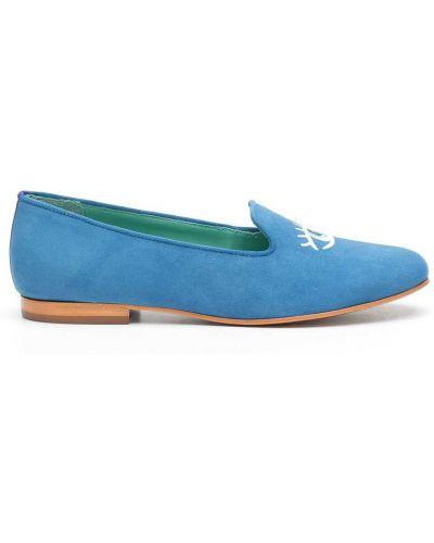 Кожаные слиперы с вышивкой на плоской подошве Blue Bird Shoes