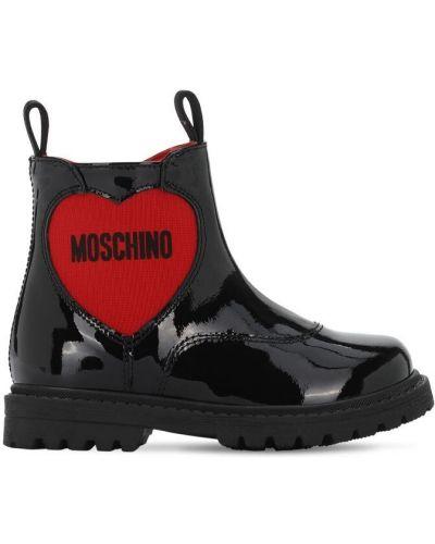 Skórzany czarny buty Moschino