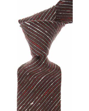 Czerwony krawat w paski z jedwabiu Borrelli