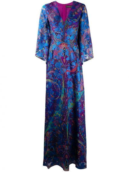 Платье макси с V-образным вырезом на молнии Etro