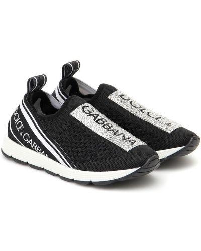 Włókienniczy czarny sneakersy Dolce & Gabbana Kids