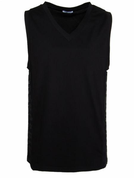Хлопковая черная футболка с V-образным вырезом со вставками Dirk Bikkembergs